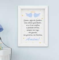 Quadro Infantil Bebê Menino Oração Santo Anjo
