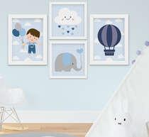 Quadro Infantil Bebê Menino Elefante Nuvem Balão Kit 4 Peças