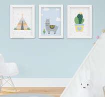 Quadro Infantil Bebê Menino Lhama e Cabana Kit 3 Peças