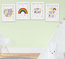 Quadro Infantil Bebê Menino Menina Alfabeto Arco-íris Kit 4 Peças