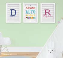 Quadro Infantil Bebê Menino Menina Irmãos Sonhe Alto Kit 3 Peças