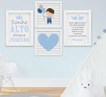 Quadro Infantil Bebê Menino Santo Anjo Sonhe Alto Kit 4 Peças