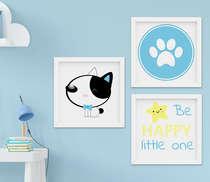 Quadro Decorativo Infantil Bebê Menino Cachorrinho Azul Kit 3 Peças