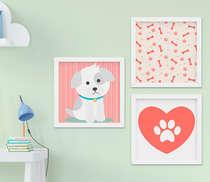 Quadro Decorativo Infantil Bebê Menino Cachorrinho Kit 3 Peças