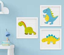 Quadrinho Infantil Bebê Menino Dinossauro Kit 3 Peças