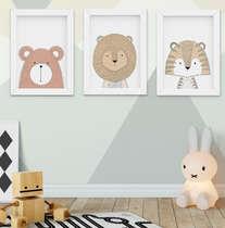 Quadro Decorativo Infantil Escandinavo Urso Leão Tigre Kit 3 Peças