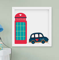Quadro Decorativo Infantil Bebê Menina Menino Londres Cabine Telefônica