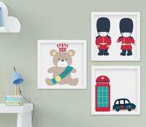 Kit Quadro Infantil Bebê Menina Londres Soldadinho 3 Peças