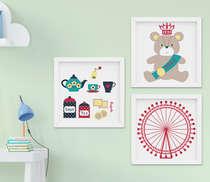Kit Quadro Infantil Bebê Menina Londres Kit 3 Peças