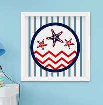 Quadro Decorativo Infantil Bebê Menino Marinheiro Estrela do Mar