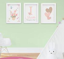 Quadro Infantil Menina Aquarela Jardim Flores Coração Nome Kit 3 Peças