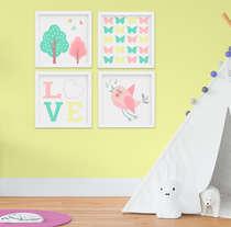 Quadro Infantil Quarto Bebê Menina Jardim Encantado Kit 4 Peças