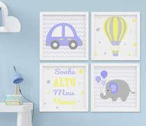 Quadro Infantil Quarto Bebê Menino Elefante Carrinho Sonhe Alto Kit 4 Peças