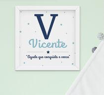Quadro Infantil Menino Letra Nome Significado Azul Personalizado