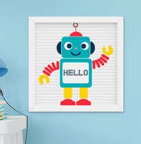 Quadro Infantil Bebê Menino Robô Hello