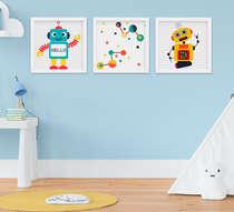 Quadro Infantil Menino Robô Kit 3 Peças