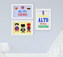 Quadro Infantil Menino Super Heróis Sonhe Alto 3 Peças
