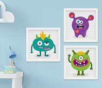 Quadro Infantil Monstrinhos Cute Kit 3 Peças