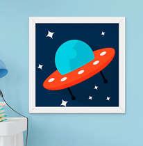 Quadro Decorativo Infantil Bebê Menino Nave Espacial