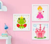 Quadro Infantil Princesa Kit 3 Peças