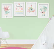 Quadro Infantil Quarto Bebê Menina Jardim Flores Aquarela Kit 4 Peças