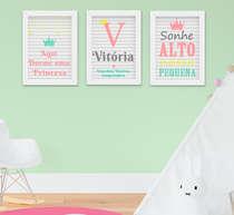 Quadro Infantil Quarto Bebê Menina Nome Frase Sonhe Alto 3 Peças