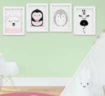 Quadro Infantil Quarto Bebê Menina Urso Pinguim Kit 4 Peças