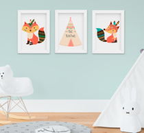 Quadro Decorativo Infantil Raposinha Indian Fox Kit 3 Peças