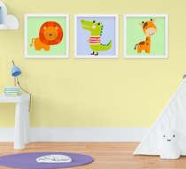 Quadro Infantil Quarto Bebê Menino Safari Kit 3 Peças