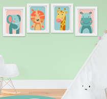 Quadro Decorativo Infantil Bebê Menino Safari Leão Girafa Elefante Kit 4 Peças