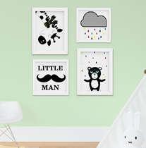 Quadro Decorativo Infantil Bebê Menino Urso Little Man Preto e Braco 4 Peças