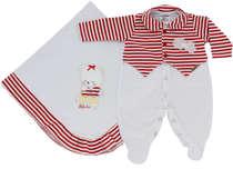 Saída de Maternidade Bebê Menina 2 Peças Listras Vermelho