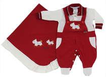 Saída de Maternidade Bebê Menino 2 Peças Cavalinho Vermelho