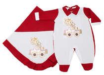 Saída de Maternidade Bebê Menino 2 Peças Girafinha Vermelho
