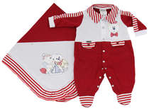 Saída de Maternidade Bebê Menino 2 Peças Navy Vermelho
