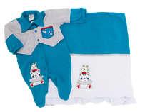 Saída de Maternidade Bebê Menino 2 Peças Coelhinho Azul
