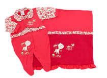 Saída de Maternidade Bebê Menina 2 Peças Glamour Vermelha