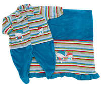 Saída de Maternidade Bebê Menino 2 Peças Listras Azul e Verde