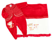 Saída de Maternidade Bebê Menina 2 Peças Poá Vermelha