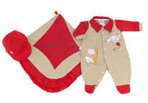 Saída de Maternidade Bebê Menino 3 Peças Ursinhos Vermelho
