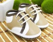 Tênis Bebê Menino Casual Bege e Marrom