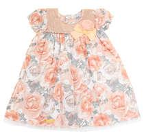 Vestido Bebê Floral Salmão