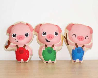 Almofada Naninha Kit 3 Peças Três Porquinhos