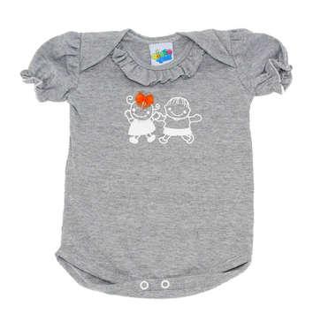 Body Bebê Menina Bonequinhos Cinza