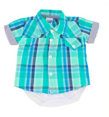 Body Bebê Menino Camisa Xadrez Verde
