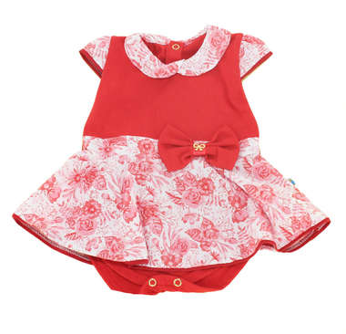 Body Saia Bebê Menina Primavera Vermelho