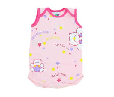Body  Bebê Menina Estrelinhas Rosa