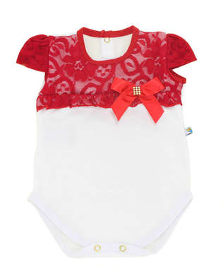Body Bebê Menina Fashion Renda Vermelho