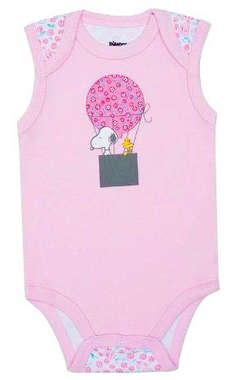 Body Bebê Menina Snoopy Balão Rosa Bebê