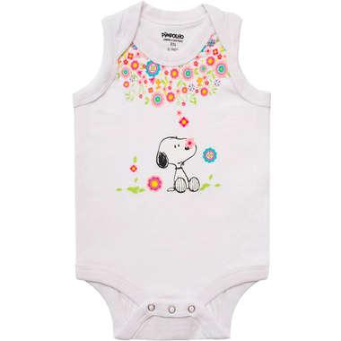 Body Bebê Menina Snoopy Flores Branco